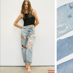 Distressed BDG High Waisted Mom Jeans in grey